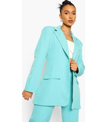 oversized getailleerde blazer, turquoise