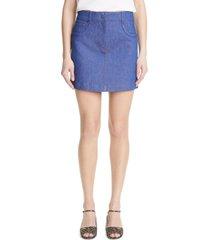 fendi logo embossed denim skirt, size 8 us in baby blue at nordstrom