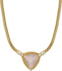 2028 gold-tone peach semi precious triangle stone necklace