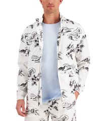 club room men's tropical-print lightweight jacket, created for macy's