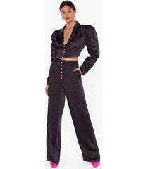 womens studio nobody's pearl wide-leg pants - black