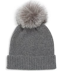 rib-knit cashmere fox fur pom-pom beanie