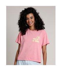 "blusa feminina faça o bem"" manga curta decote redondo rosa"""