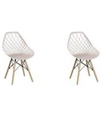 conjunto 02 cadeiras cloe base madeira  nude
