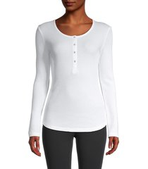 splendid women's contoured henley t-shirt - white - size xs