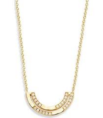18k senso gold & diamond half arc pendant necklace
