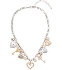 "holiday lane two-tone crystal & imitation pearl heart charm necklace, 18"" + 3"" extender, created for macy's"