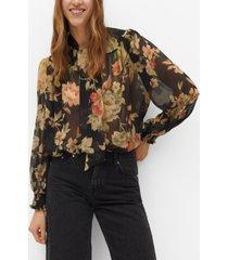 mango women's tie-neck blouse