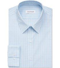 calvin klein men's extreme slim fit stain shield performance stretch blue grid dress shirt