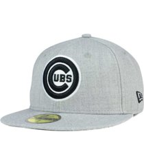 new era chicago cubs heather black white 59fifty fitted cap