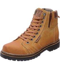 bota coturno em couro mega boots 6016 amarelo - amarelo/marrom - masculino - dafiti