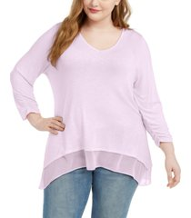 style & co plus size layered-hem tunic, created for macy's
