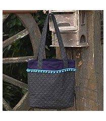 cotton tote bag, 'gray versatility' (thailand)