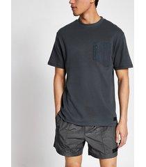 river island mens pastel tech grey nylon pocket t-shirt