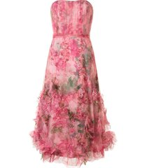 marchesa notte floral print ruffled trim gown - pink