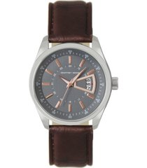 geoffrey beene grey dial rose accent brown strap watch