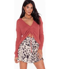 womens pull a fast one ruched knit sweater - blush