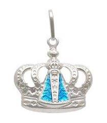 pingente prata coroa com nossa senhora aparecida com resina azul