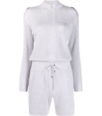 brunello cucinelli ribbed-knit cotton playsuit - grey