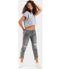 gardena cropped distressed jeans - gray