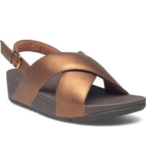 lulu cross back-strap sandals - leather shoes summer shoes flat sandals brun fitflop