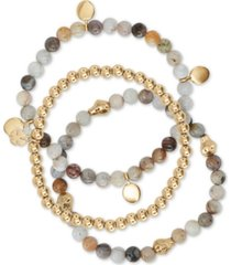 lucky brand 3-pc. set gold-tone agate & stone beaded stretch bracelets