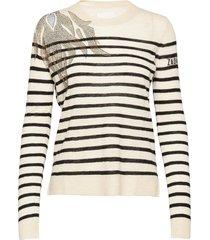 miss cp stripes flower flamme stickad tröja vit zadig & voltaire