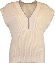 monili trim v-neck cap sleeve lurex ribbed knit top