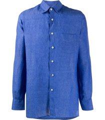 canali pointed-collar linen shirt - blue