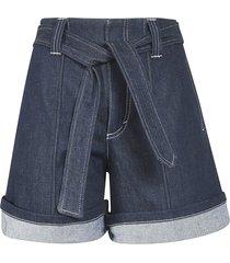 chloé belted denim shorts