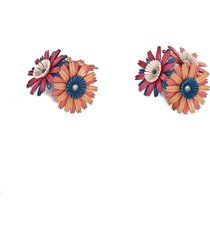 flora clip-on earrings in enamelled gold-tone metal and strass