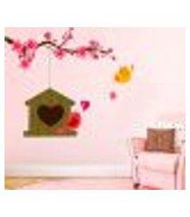 adesivo de parede galho com pássaro e casinha - eg 98x114cm