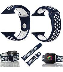 pulso para apple watch 38 mm correa en silicona watchband - azul con blanco