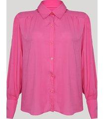 camisa feminina mindset ampla manga bufante pink
