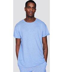 t-shirt i linne- och bomullsblandning - blå
