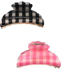 tasha assorted 2-pack plaid jaw hair clips, size one size - black