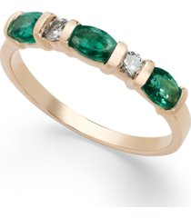14k gold ring, emerald (3/4 ct. t.w.) and diamond (1/8 ct. t.w.) ring