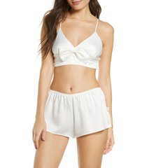 women's rya collection shimmer bralette & shorts set, size large - ivory
