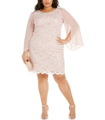 connected plus size lace chiffon-sleeve sheath dress
