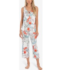 linea donatella tropical-print tank top & cropped pajama pants set