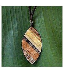 wood pendant necklace, 'distinguished surfer' (brazil)