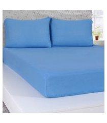 lençol queen de malha 100% algodáo com elástico azul - panosul