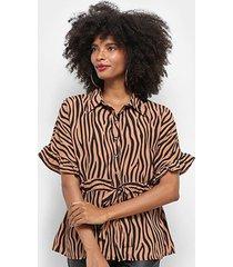blusa top moda animal print zebra amarração feminina