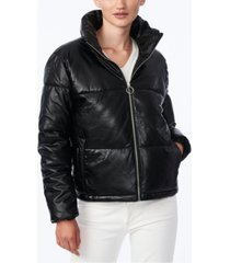 collection b juniors' faux-leather puffer coat