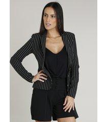 blazer feminino acinturado listrado com bolsos preto
