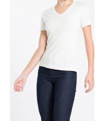 camiseta decote v ck abertura lateral - nude - pp