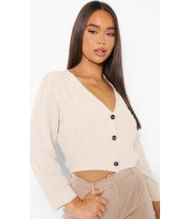 blouse met knoop detail, stone