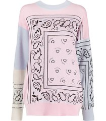 barrie bandana intarsia-knit jumper - pink