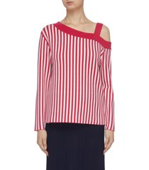 asymmetric off-shoulder merino wool stripe top