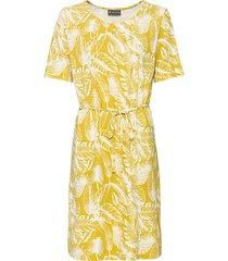 jersey jurk met korte mouw van hennep/bio-katoen, saffraan m